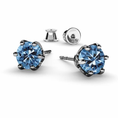 Cercei Argint 925 placati cu Rodiu Negru, Cercei SWAROVSKI Zirconia Blue Crystals 6mm + CADOU Laveta profesionala pentru curatat bijuteriile din argint + Cutie Cadou