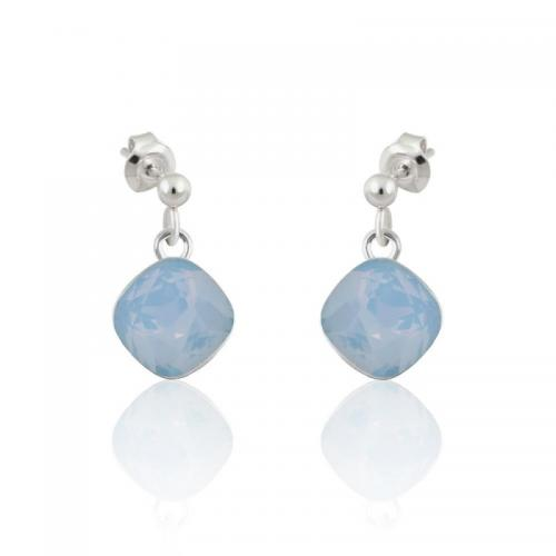 Cercei Argint, Cercei SWAROVSKI Brilliant Blue Opal (M2) + CADOU Laveta profesionala pentru curatat bijuteriile din argint + Cutie Cadou
