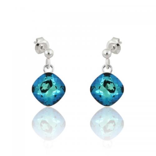 Cercei Argint, Cercei SWAROVSKI Brilliant Electric Blue (M2) + CADOU Laveta profesionala pentru curatat bijuteriile din argint + Cutie Cadou