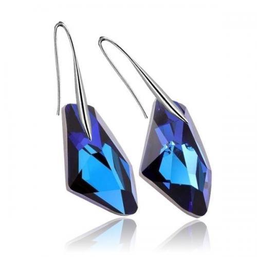 Cercei Argint, Cercei Swarovski Crystals Galactic Electric Blue  + CADOU Laveta profesionala pentru curatat bijuteriile din argint