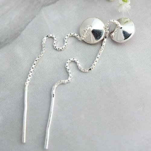Cercei Argint cu lantisor, Cercei SWAROVSKI Crystals Grace Amethyst 8mm + CADOU Laveta profesionala pentru curatat bijuteriile din argint