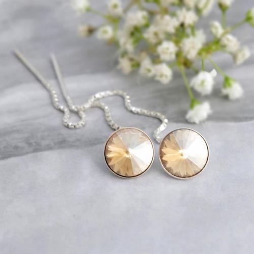 Cercei Argint cu lantisor, Cercei SWAROVSKI Crystals Grace Gold 8mm + CADOU Laveta profesionala pentru curatat bijuteriile din argint