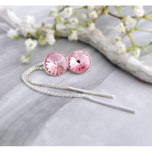 Cercei Argint cu lantisor, Cercei SWAROVSKI Crystals Grace Rose 8mm + CADOU Laveta profesionala pentru curatat bijuteriile din argint