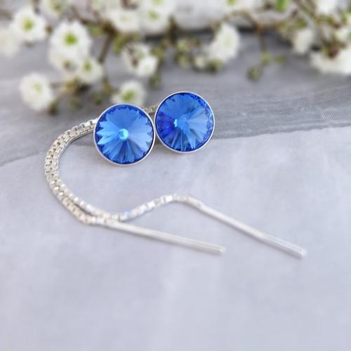 Cercei Argint cu lantisor, Cercei SWAROVSKI Crystals Grace Sapphire 8mm + CADOU Laveta profesionala pentru curatat bijuteriile din argint
