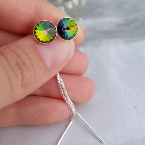 Cercei Argint cu lantisor, Cercei SWAROVSKI Crystals Grace Vitrail 8mm + CADOU Laveta profesionala pentru curatat bijuteriile din argint