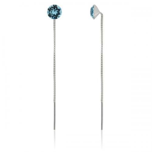 Cercei din argint cu lantisor si SWAROVSKI Crystals Xirius Aquamarine 8mm + CADOU Laveta profesionala pentru curatat bijuteriile din argint + Cutie Cadou