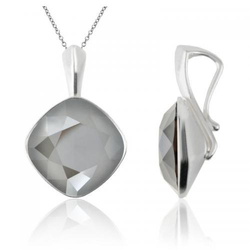 Colier Argint 925, Colier SWAROVSKI Brilliant Dark Grey 12mm + CADOU Laveta profesionala pentru curatat bijuteriile din argint + Cutie Cadou