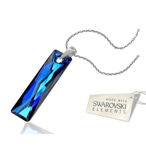 Colier Argint 925, Colier SWAROVSKI Crystals Elegance Electric Blue + CADOU Laveta profesionala pentru curatat bijuteriile din argint