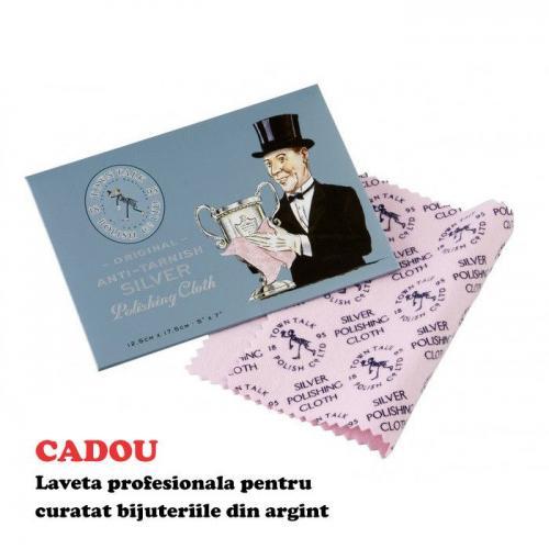 Colier Argint 925, Colier SWAROVSKI Cube Aquamarine + CADOU Laveta profesionala pentru curatat bijuteriile din argint + Cutie Cadou