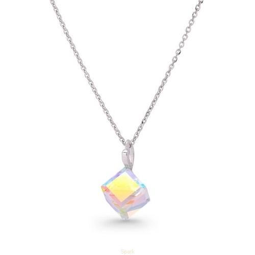 Colier Argint 925, Colier SWAROVSKI Cube Aurore Boreale + CADOU Laveta profesionala pentru curatat bijuteriile din argint + Cutie Cadou