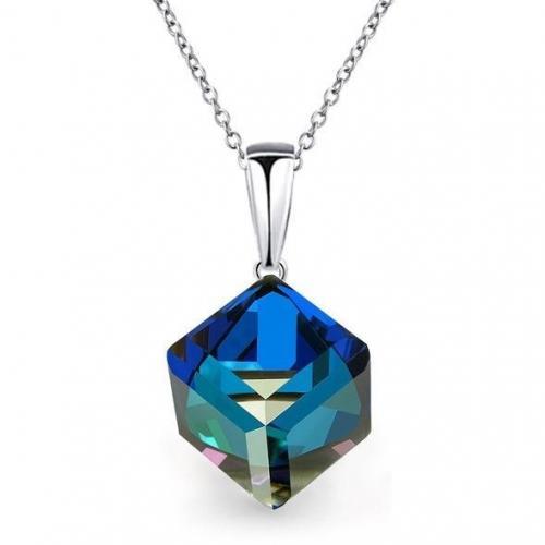 Colier Argint 925, Colier SWAROVSKI Cube Electric Blue + CADOU Laveta profesionala pentru curatat bijuteriile din argint + Cutie Cadou