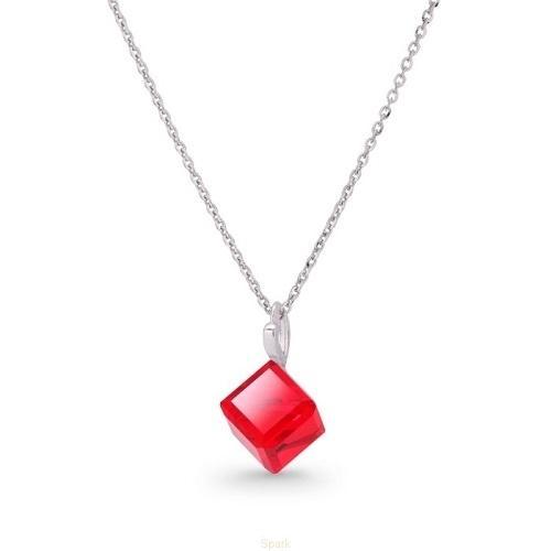 Colier Argint 925, Colier SWAROVSKI Cube Light Siam + CADOU Laveta profesionala pentru curatat bijuteriile din argint + Cutie Cadou