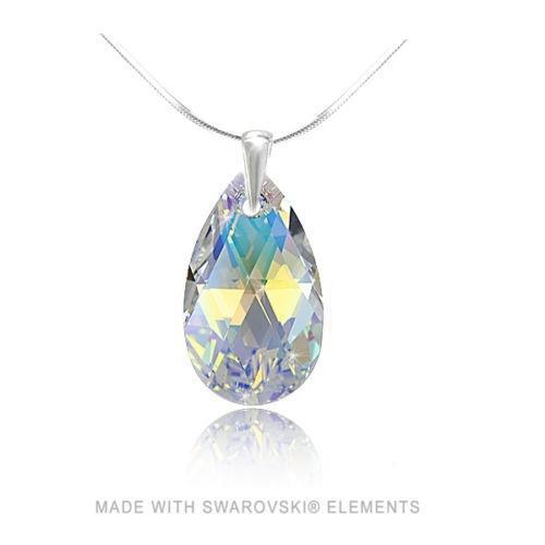 Colier Argint 925, Colier SWAROVSKI Style Aurora Boreala + CADOU Laveta profesionala pentru curatat bijuteriile din argint + Cutie Cadou