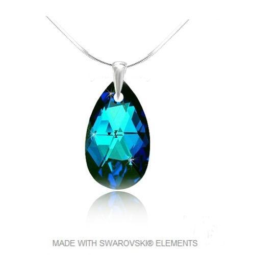 Colier Argint 925, Colier SWAROVSKI Style Electric Blue + CADOU Laveta profesionala pentru curatat bijuteriile din argint + Cutie Cadou