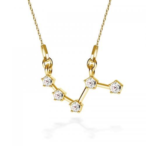Colier Constelatie Zodiacala Berbec din Argint 925 placat cu Aur 24k si SWAROVKI Crystals + CADOU Laveta profesionala pentru curatat bijuteriile din argint