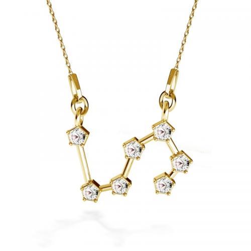 Colier Constelatie Zodiacala Leu din Argint 925 placat cu Aur 24k si SWAROVKI Crystals + CADOU Laveta profesionala pentru curatat bijuteriile din argint