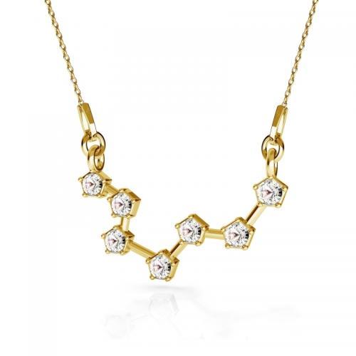Colier Constelatie Zodiacala Pesti din Argint 925 placat cu Aur 24k si SWAROVKI Crystals + CADOU Laveta profesionala pentru curatat bijuteriile din argint