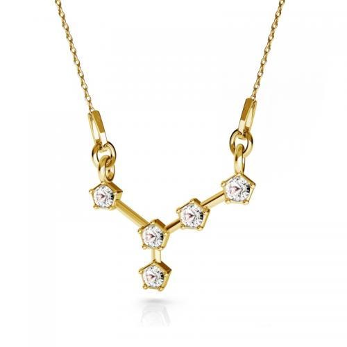 Colier Constelatie Zodiacala Rac din Argint 925 placat cu Aur 24k si SWAROVKI Crystals + CADOU Laveta profesionala pentru curatat bijuteriile din argint