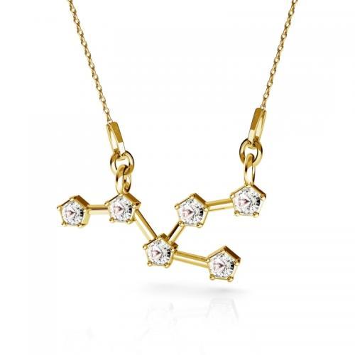 Colier Constelatie Zodiacala Taur din Argint 925 placat cu Aur 24k si SWAROVKI Crystals + CADOU Laveta profesionala pentru curatat bijuteriile din argint