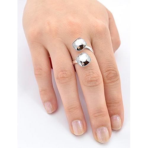 Inel Argint 925, Inel SWAROVSKI Crystals Brilliant (2) Chrome + CADOU Laveta profesionala pentru curatat bijuteriile din argint