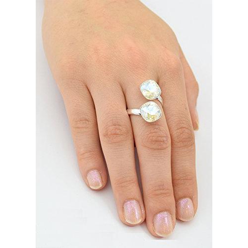Inel Argint 925, Inel SWAROVSKI Crystals Brilliant (2) Moonlight + CADOU Laveta profesionala pentru curatat bijuteriile din argint