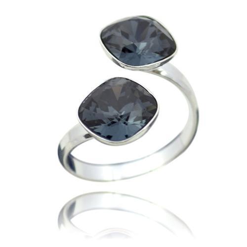 Inel Argint 925, Inel SWAROVSKI Crystals Brilliant (2) Night + CADOU Laveta profesionala pentru curatat bijuteriile din argint