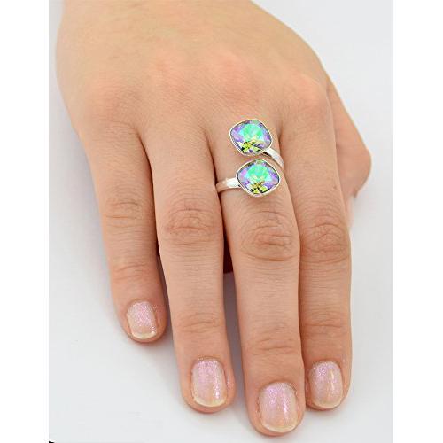 Inel Argint 925, Inel SWAROVSKI Crystals Brilliant (2) Paradise + CADOU Laveta profesionala pentru curatat bijuteriile din argint