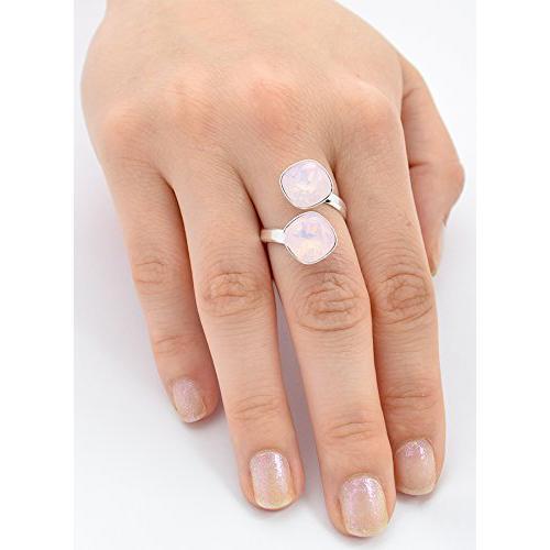 Inel Argint 925, Inel SWAROVSKI Crystals Brilliant (2) Rose Opal + CADOU Laveta profesionala pentru curatat bijuteriile din argint
