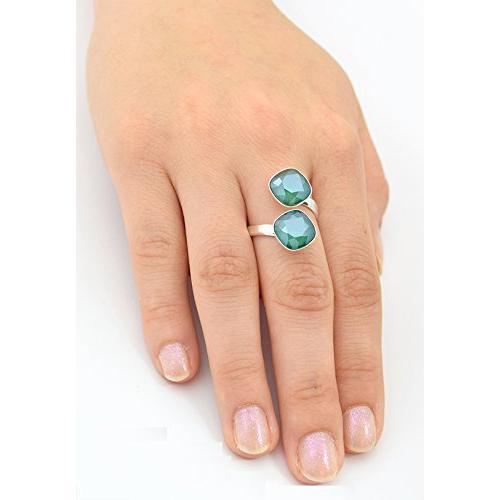 Inel Argint 925, Inel SWAROVSKI Crystals Brilliant (2) Royal Green + CADOU Laveta profesionala pentru curatat bijuteriile din argint