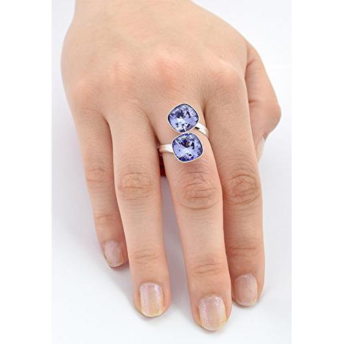 Inel Argint 925, Inel SWAROVSKI Crystals Brilliant (2) Tanzanite + CADOU Laveta profesionala pentru curatat bijuteriile din argint