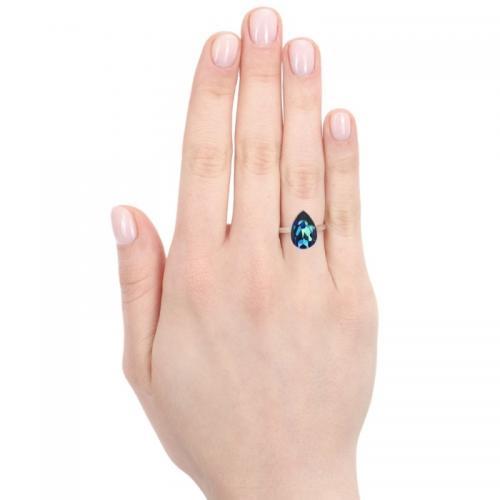 Inel Argint 925, Inel SWAROVSKI Crystals Glamour Light Turquoise + CADOU Laveta profesionala pentru curatat bijuteriile din argint