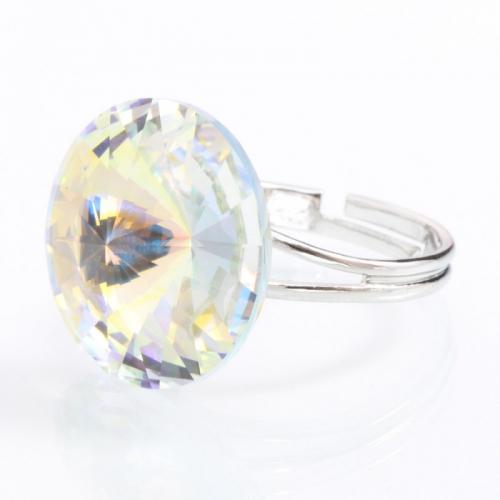 Inel Argint 925, Inel SWAROVSKI Crystals Grace Aurore Boreale 18mm + CADOU Laveta profesionala pentru curatat bijuteriile din argint + Cutie Cadou
