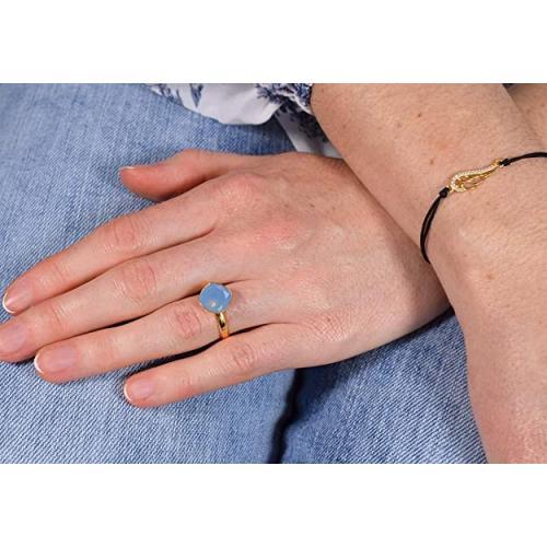 Inel Argint 925 placat cu Aur 24k, Inel SWAROVSKI Brilliant Air Blue Opal + CADOU Laveta profesionala pentru curatat bijuteriile din argint