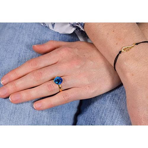 Inel Argint 925 placat cu Aur 24k, Inel SWAROVSKI Brilliant Electric Blue + CADOU Laveta profesionala pentru curatat bijuteriile din argint