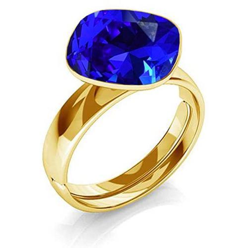 Inel Argint 925 placat cu Aur 24k, Inel SWAROVSKI Brilliant Majestic Blue + CADOU Laveta profesionala pentru curatat bijuteriile din argint