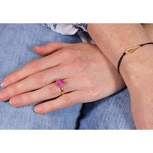 Inel Argint 925 placat cu Aur 24k, Inel SWAROVSKI Brilliant Peony Pink + CADOU Laveta profesionala pentru curatat bijuteriile din argint