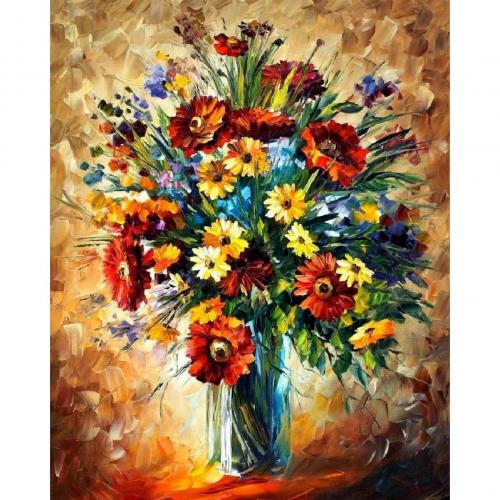 Pictura pe numere 40x50 cm - Panza din bumbac pe rama de lemn - Buchet de flori (12) (PDP-548)