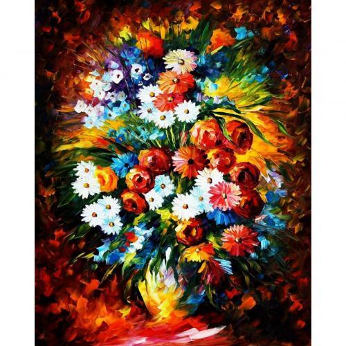 Pictura pe numere 40x50 cm - Panza din bumbac pe rama de lemn - Buchet de flori (7) (PDP-533)