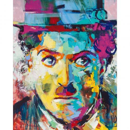 Pictura pe numere 40x50 cm - Panza din bumbac pe rama de lemn - Charlie Chaplin (PDP-345)