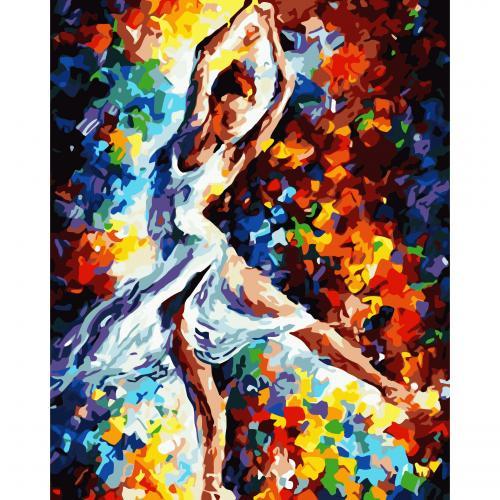 Pictura pe numere 40x50 cm - Panza din bumbac pe rama de lemn - Dansul balerinei (PDP-208)