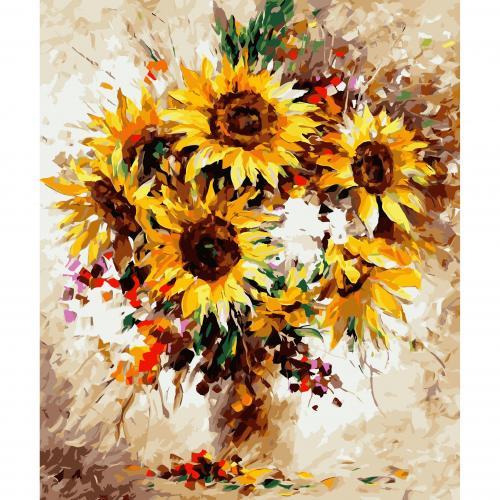 Pictura pe numere 40x50 cm - Panza din bumbac pe rama de lemn - Floarea soarelui (PDP-168)