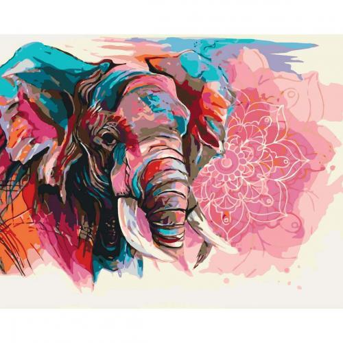 Pictura pe numere 40x50 cm - Panza din bumbac pe rama de lemn - Lotus Elephant (PDP-722)