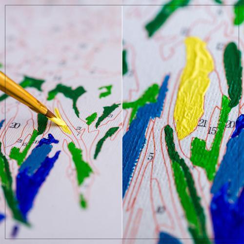 Pictura pe numere 40x50 cm - Panza din bumbac pe rama de lemn - Margarete in lan (PDP-195)