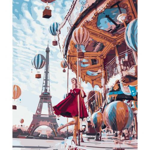 Pictura pe numere 40x50 cm - Panza din bumbac pe rama de lemn - Paris Carousel (PDP-202)