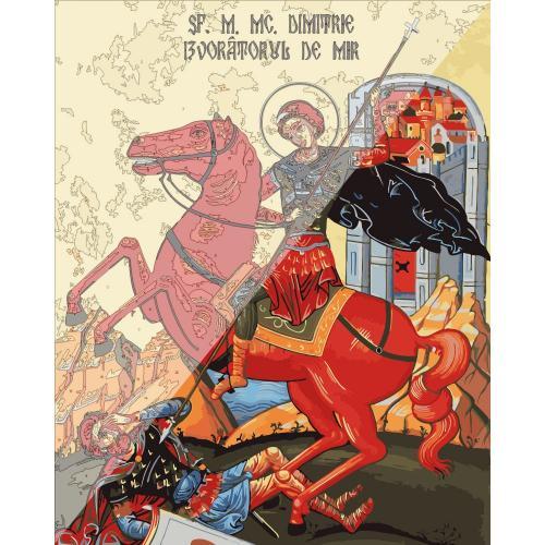 Picturi pe numere Religioase 40x50 cm Sfantul Mare Mucenic Dimitrie, izvoratorul de mir 26 Octombrie PDP1472