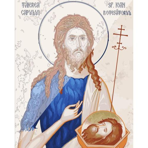 Pictura pe numere 40x50 cm - Panza din bumbac pe rama de lemn - Taierea capului Sfantului Ioan Botezatorul 29 August (PDP-1475)