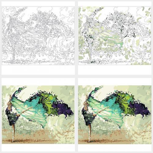 Pictura pe numere - Panza din bumbac pe rama de lemn 60*75 cm - Casuta cu flori (WM-198)