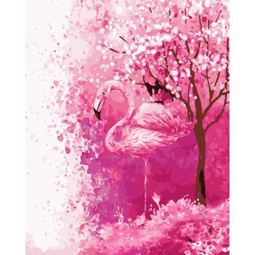 Pictura pe numere - Panza din bumbac pe rama de lemn 40*50 cm - Flamingo (YM-204)