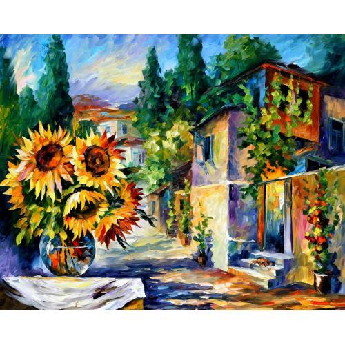 Pictura pe numere - Panza din bumbac pe rama de lemn 40*50 cm - Sunflowers (2) (PDP-541)