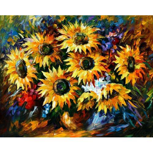 Pictura pe numere - Panza din bumbac pe rama de lemn 40*50 cm - Sunflowers (PDP-543)
